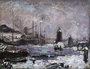 Kutter im Bremer Hafen im Winter von der Bremer Malerin Toni Elster
