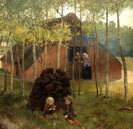 Kunstmuseum, Kunst-Café, Spielende Moorbauernkinder von Christian Ludwig Bokelmann