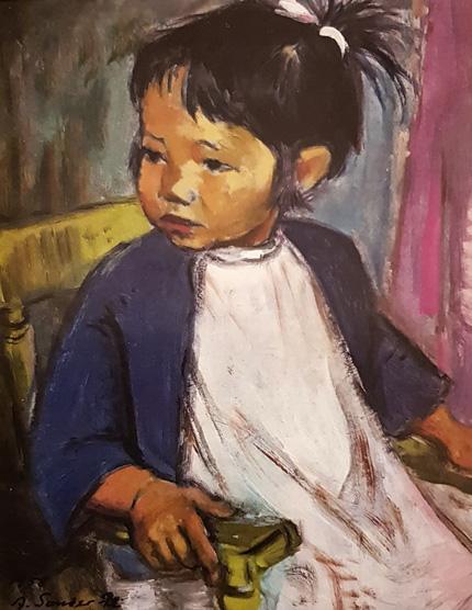 aktuelle Ausstellung -Kleine Japanerin in blauer Jacke von Agnes Sander-Plump
