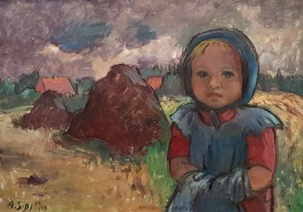 Agnes Sander-Plump Mädchen vor Worpsweder Landschaft