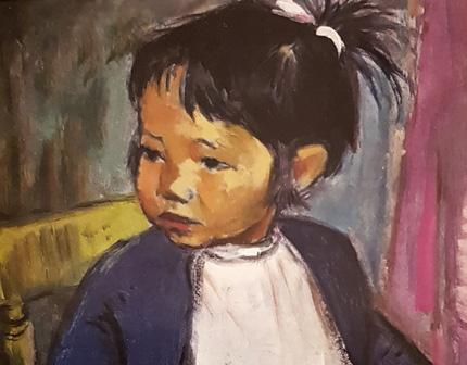 Kunstmuseum, Kunst-Café, Kleine Japanerin in blauer Jacke von Agnes Sander-Plump