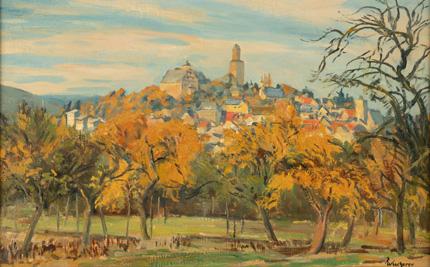 Blick auf Kronberg mit der Burg vom Talweg aus von Fritz Wucherer