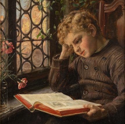 Knabe in Grimms Märchen lesend von Josefine Schalk