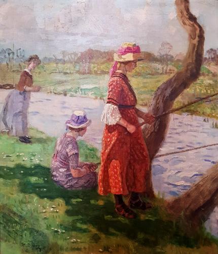 Heinrich Breling - Angelnde Damen